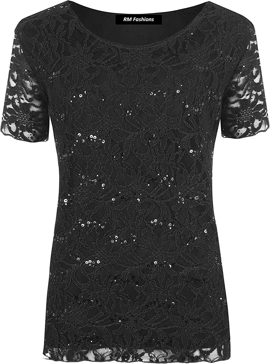 Rimi Hanger Womens Floral Lace Sequin Sparkle T Shirt Ladies Short Sleeve Fancy Party Top S//3XL