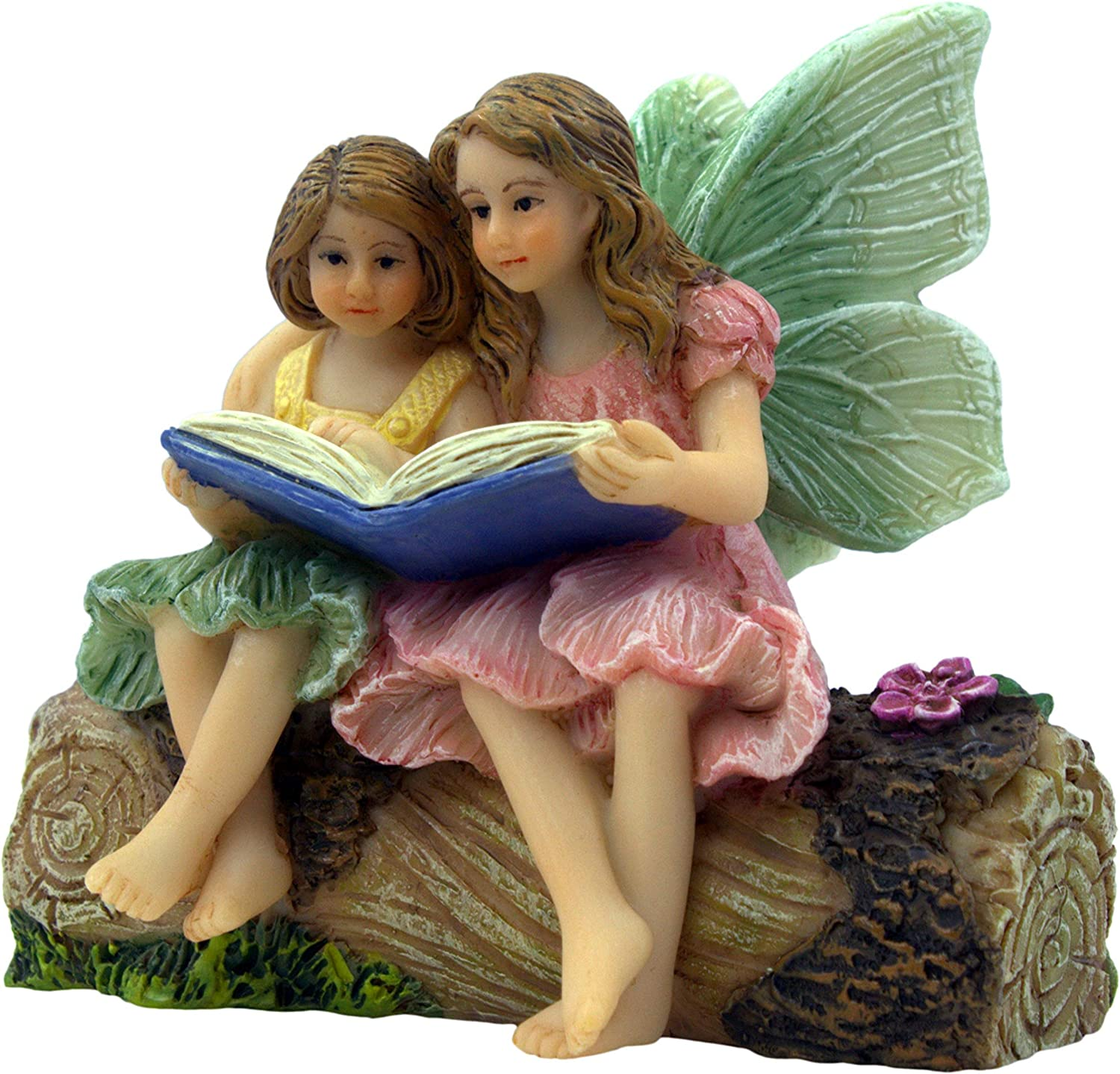 PRETMANNS Fairy Garden Fairies – Fairy Figurines – 2 Adorable Fairies Sitting on a Stump Reading a Book - Storytime Fairies - Fairy Garden Supplies 1 Piece