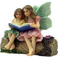 PRETMANNS Fairy Garden Fairies - Fairy Figurines - 2 Adorable Fairies Sitting on a Stump Reading a Book - Storytime…