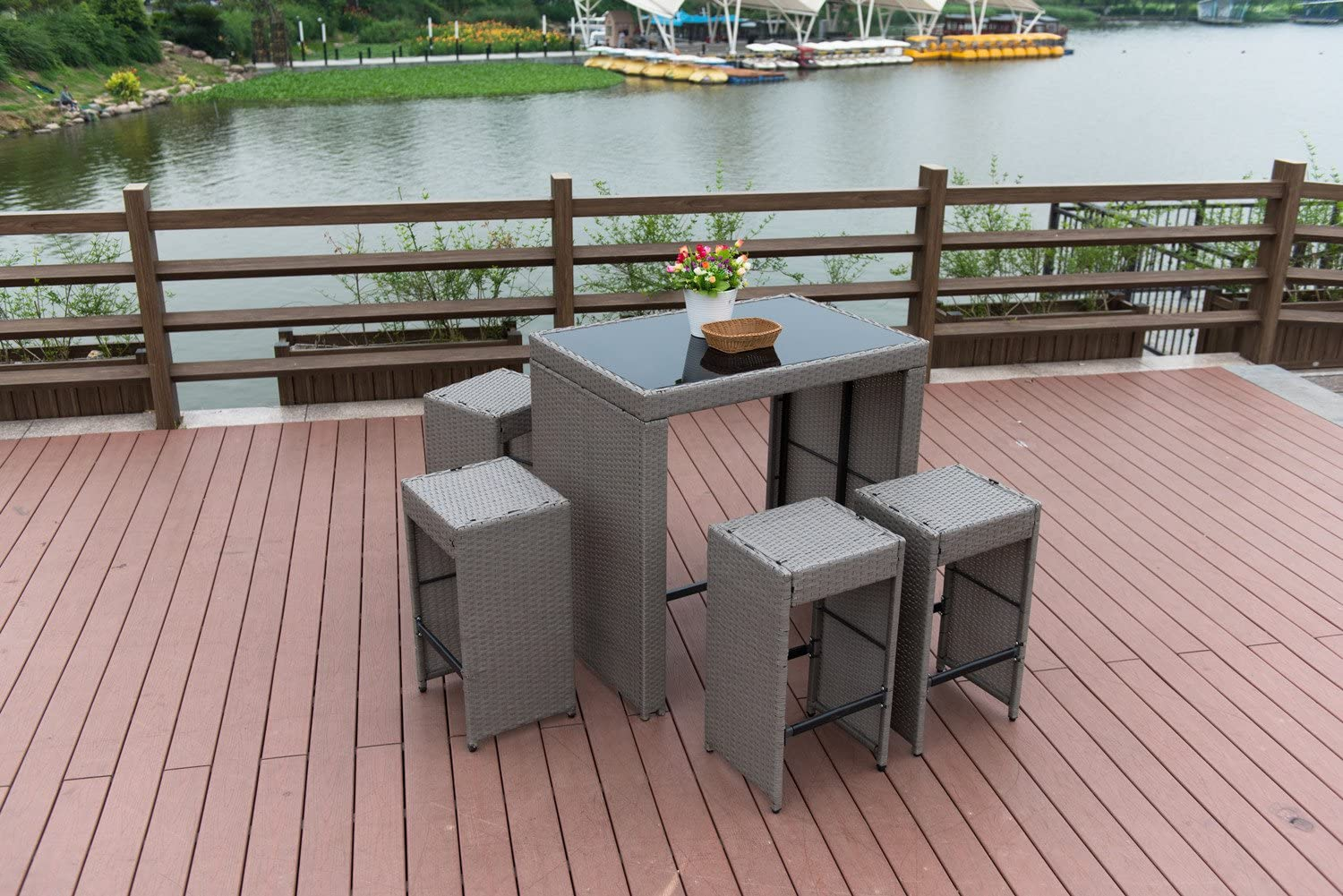 PatioPost Outdoor 5 Pcs Grey Wicker Bar Set Glass Bar and Four Stools with Cushions – Perfect for Patios, Backyards, Porches, Gardens or Poolside