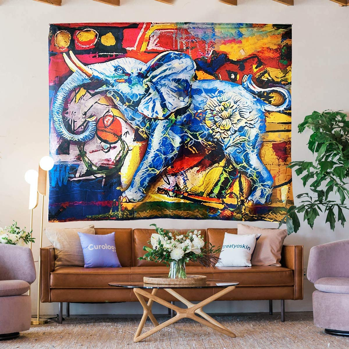 CX Elephant Tapestry Art Multiple Color Bohemian Indian Style Tapestry Hippie Wall Hanging Bedroom Living Room Decor 91 X71 inch