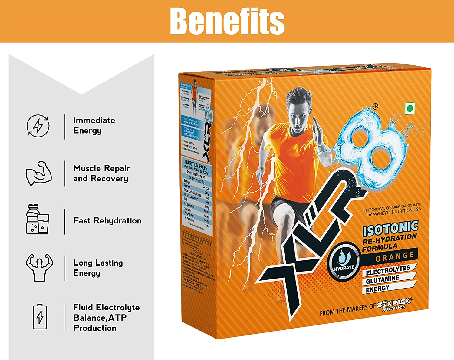 XLR8 Isotonic Re-Hydration Instant Formula Extended Workout Electrolyte  Energy Drink - 1 Kg (Orange Flavour)