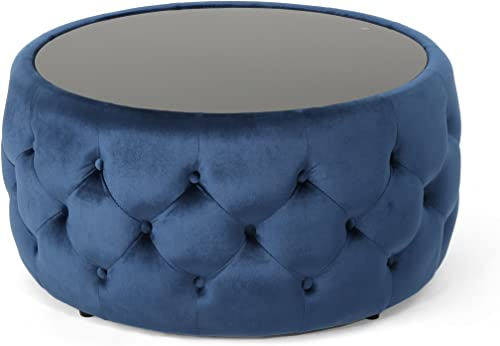 Christopher Knight Home Ivy Glam Velvet and Tempered Glass Coffee Table Ottoman