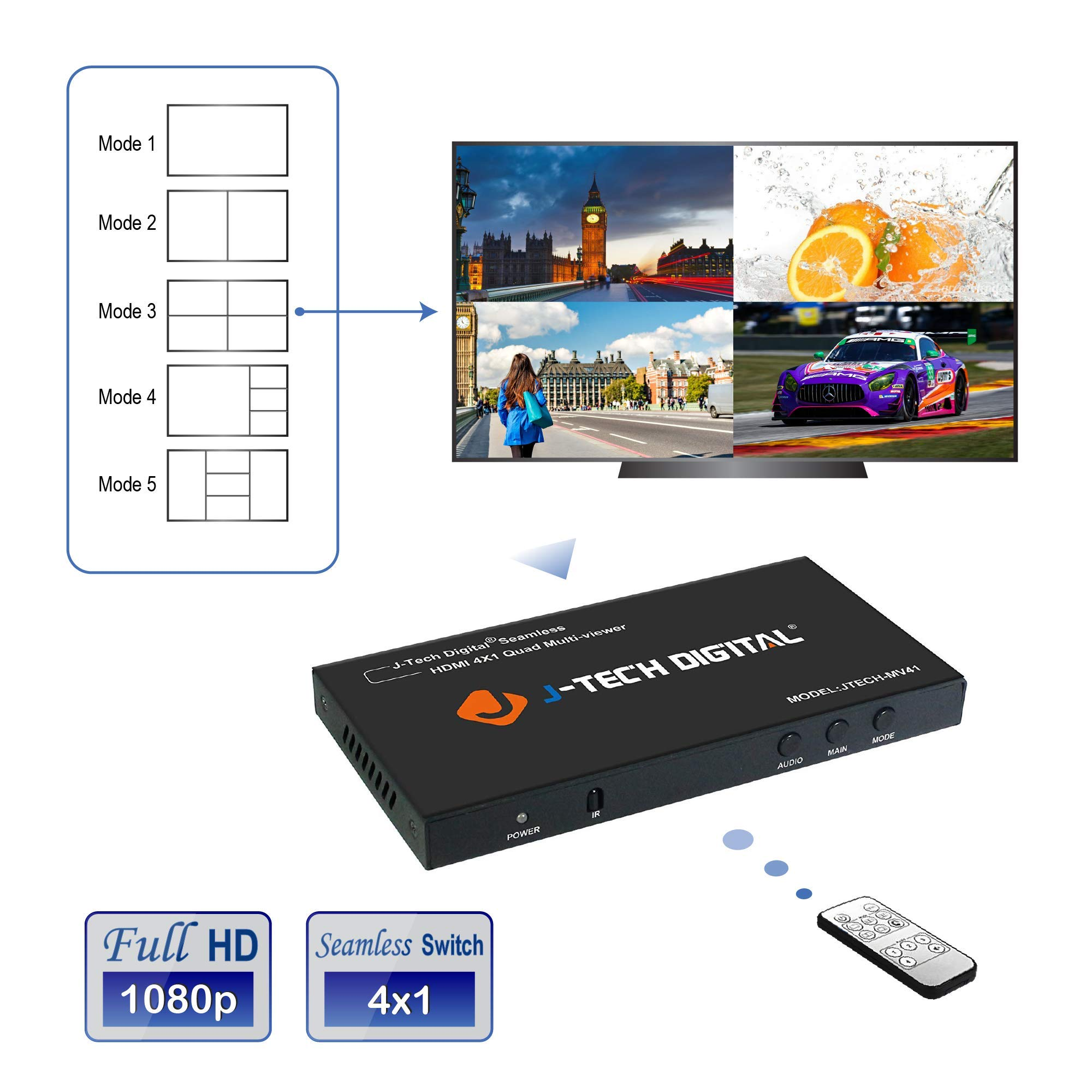 J-Tech Digital HDMI 4x1 1080P Quad Multi-Viewer Seamless Switcher with 5 Different Display Modes and IR Remote Control (JTECH-MV41) by J-Tech Digital