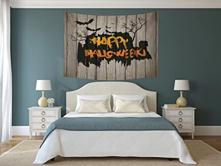 IPrint Polyester Tapestry Wall Hanging,Halloween Decorations,Happy Graffiti  Style Lettering On Rustic Wooden