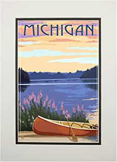 product image for Michigan - Canoe and Lake (11x14 Double-Matted Art Print, Wall Decor Ready to Frame)