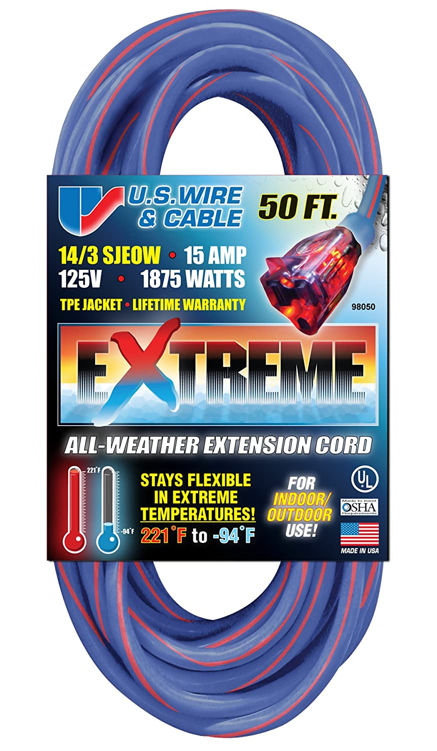US Wire 98050 14/3 50-Foot SJEOW TPE Cold Weather Extension Cord ...