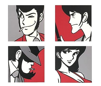 Set Di 4 Quadri Moderni Con I Personaggi Di Lupin Iii Sfondo Rosso