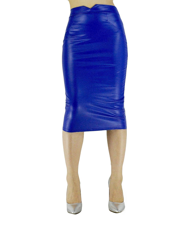 5d9cca7d0a3f0f Blue Faux Leather Pencil Skirt