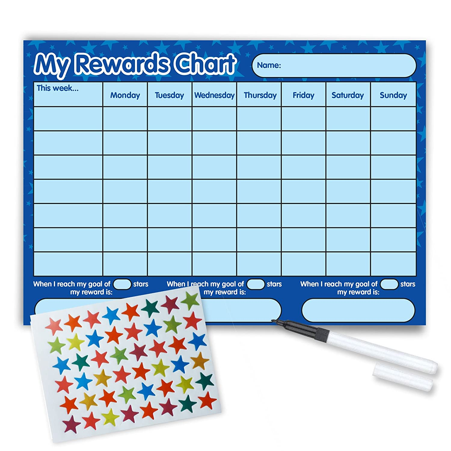 Re-usable Reward Chart, (including FREE Star Stickers and Pen) -Blue Stars Funky Monkey House