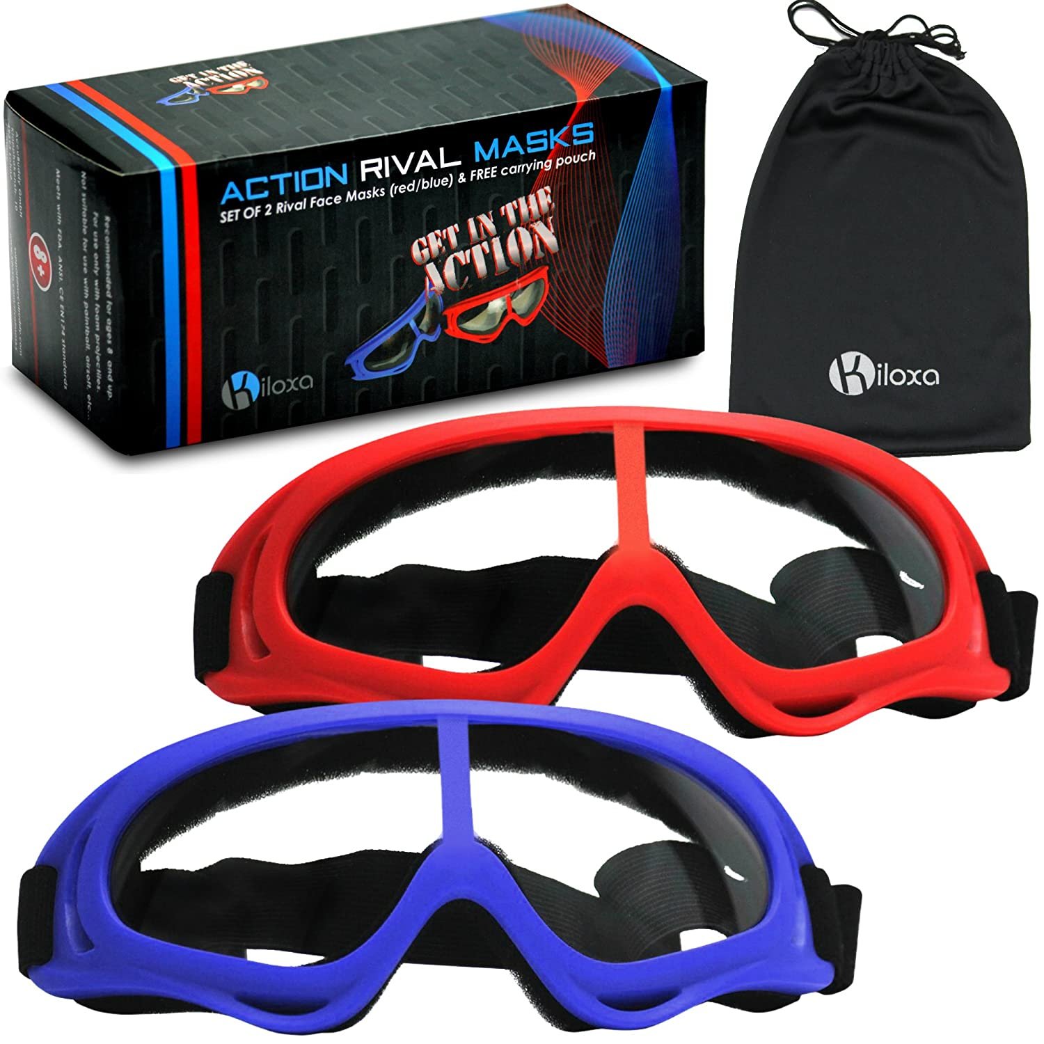 Amazon Rival Mask Eye Safety Gear for Nerf Rival Games and Battles 2 Pack Red Blue Foam Gun and Blaster Face Mask Goggles with Anti Fog Protection