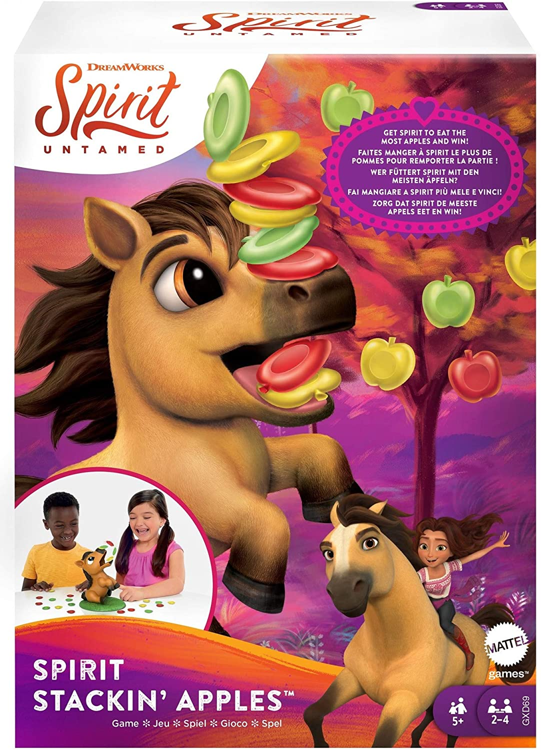 Spirit Stackin' Apples Kids Game, Treat-Stacking Challenge With Hungry Horse For 2 3 Or 4 Players 5 Years Old & Up