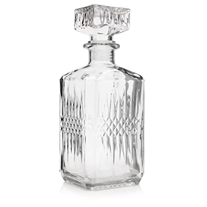 Juwa Premium Big Decorative Whiskey And Wine Glass Decanter Large Liquor Brandy Bottle With Air Tight Stopper 35 Oz Clear Vintage Style