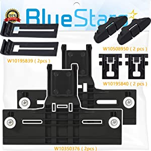 UPGRADED W10350376 & W10195839 Dishwasher Top Rack Adjuster with STEEL Screws & W10195840 Positioner & W10508950 Stop Track Replacement by Blue Stars – Exact Fit For Whirlpool Kenmore Rack - PACK OF 2