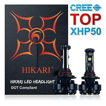 Hikari Kit de Conversión de Bombillas LED Faros Delanteros - XHP50 9600 LM 6K Blanco Frío: Amazon.es: Coche y moto