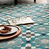 LOWYA (ロウヤ) ラグ ラグマット 北欧 ベルギー産 ウィルトン織 床暖房 ホットカーペット対応 立体模様 花柄 絨毯 カーペット 長方形 160×230cm ブルー 新生活