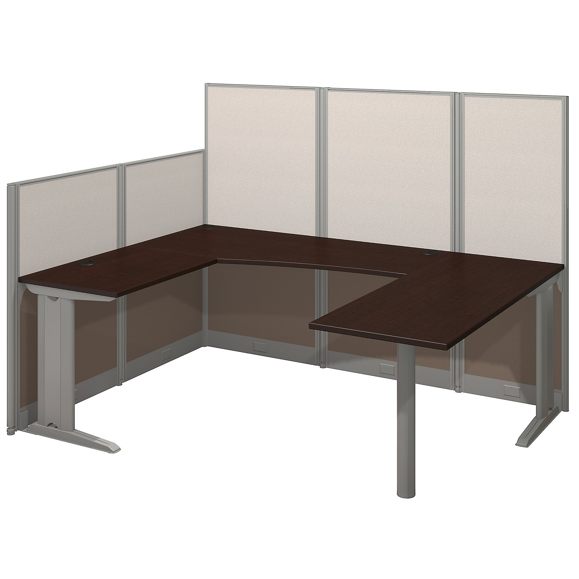 Bush Business Furniture Office in an Hour 89W x 65D U Shaped Cubicle Workstation in Mocha Cherry by Bush Business Furniture
