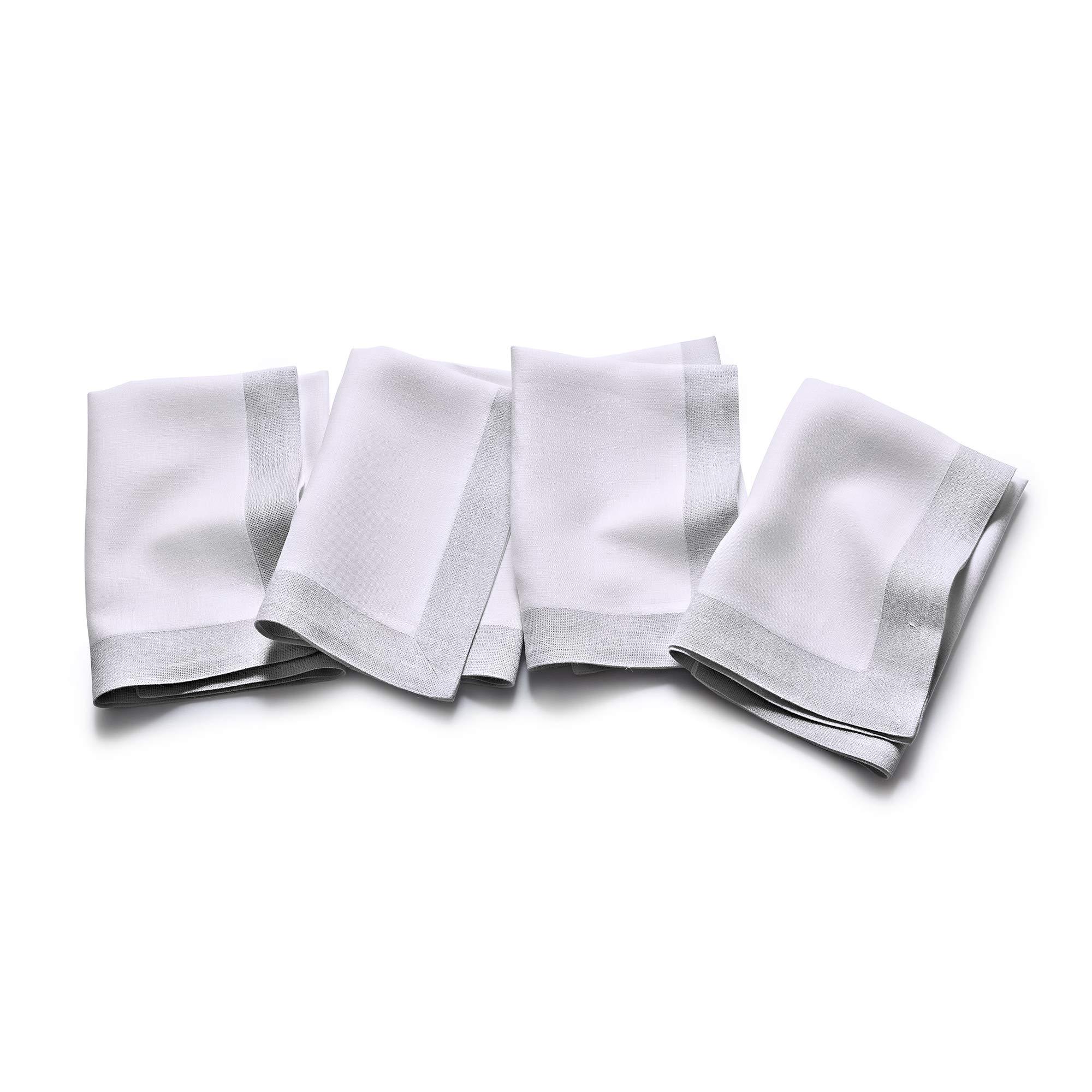 Solino Home Decorative Linen Dinner Napkin - Festive Edge, 20 x 20 Inch Set of 4 Napkin Woven with Decorative Zari Border - White with White by Solino Home