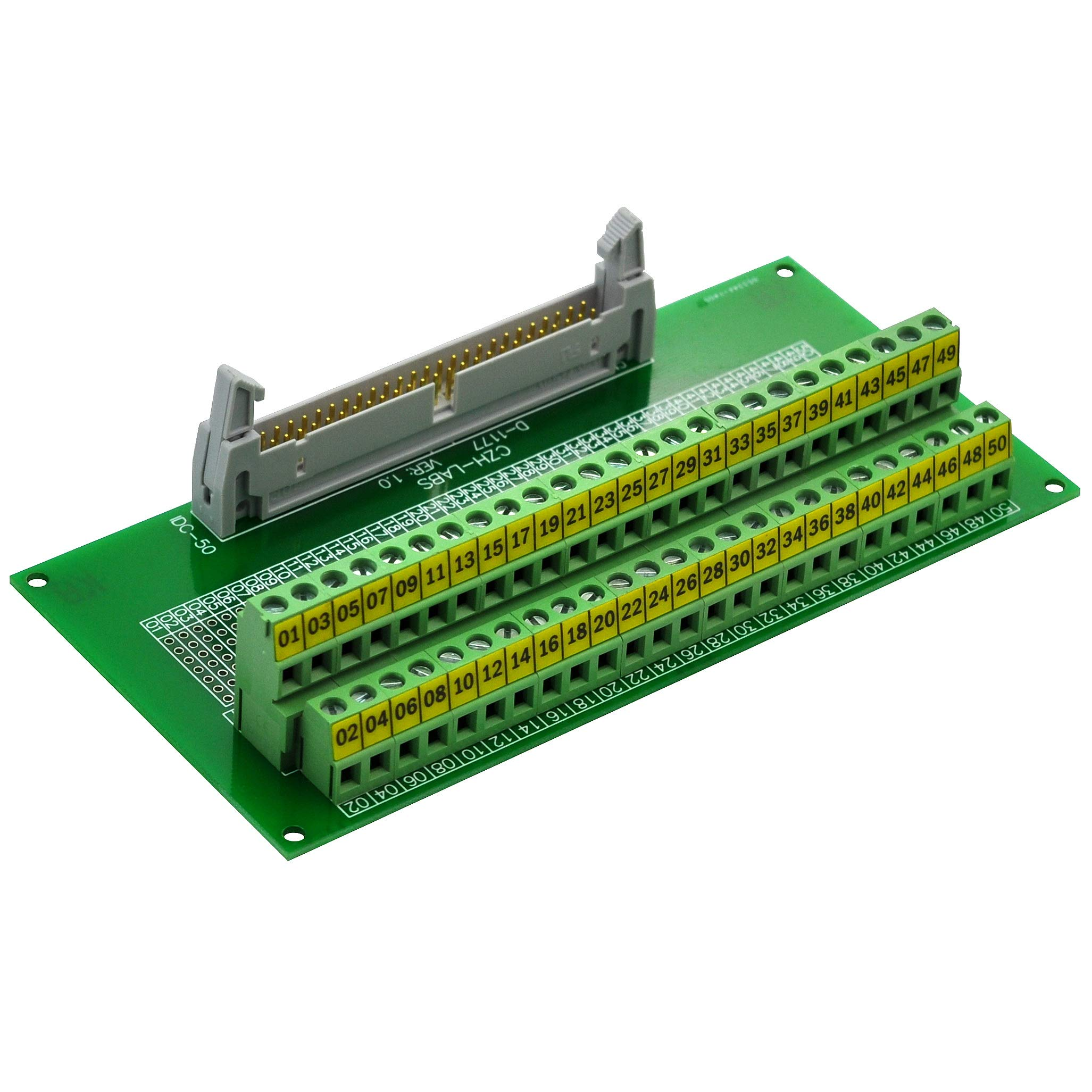 CZH-LABS IDC-50 Male Header Connector Breakout Board Module, IDC Pitch 0.1'', Terminal Block Pitch 0.2''