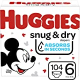 Diapers Size 6 - Huggies Snug & Dry Disposable Baby Diapers, 104ct, Mega Colossal Pack
