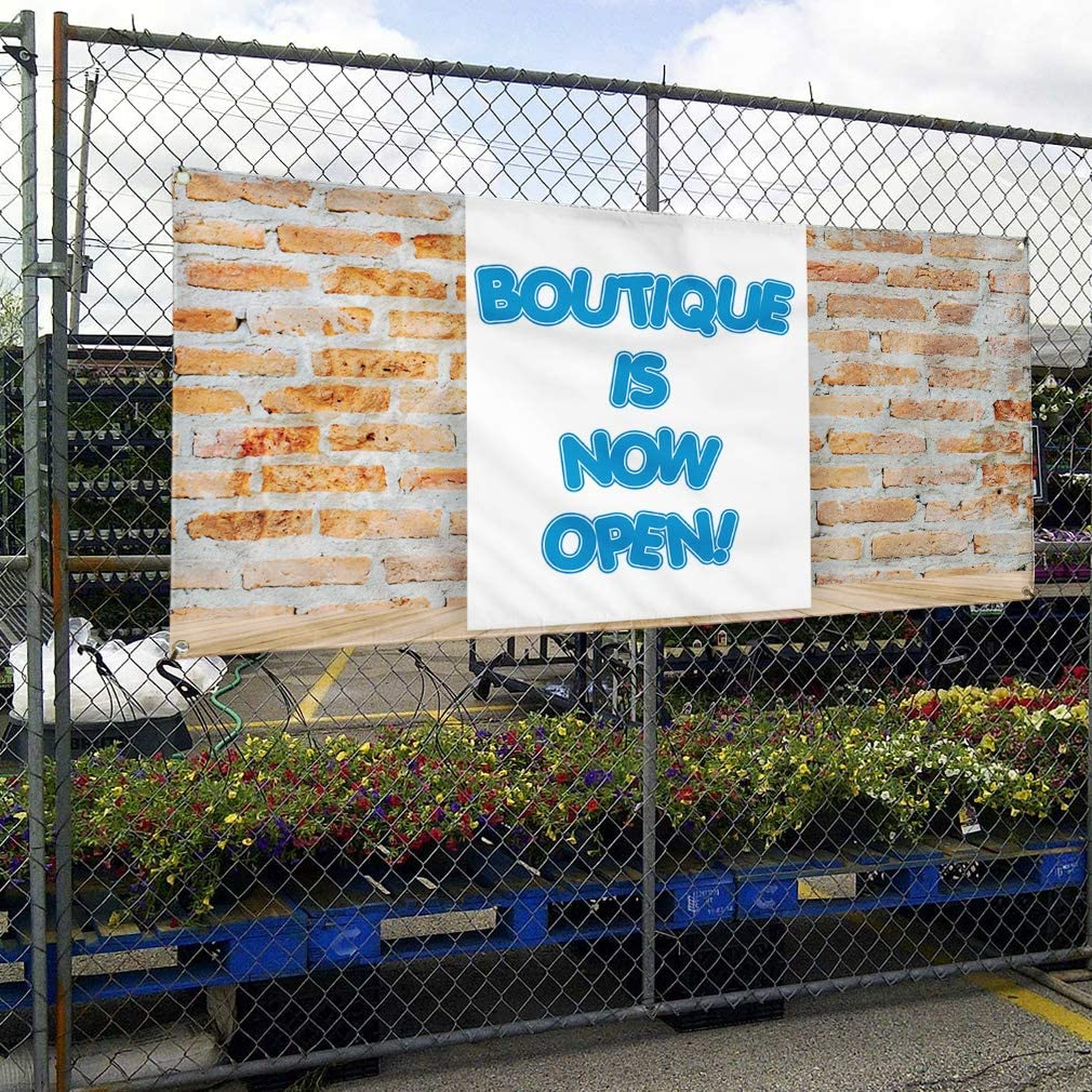 Vinyl Banner Multiple Sizes Boutique is Now Open Advertising Printing A Business Outdoor Weatherproof Industrial Yard Signs Brown 8 Grommets 48x96Inches