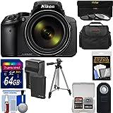 Nikon Coolpix P900 Wi-Fi 83x Zoom Digital Camera + 64GB Card + Battery & Charger + 3 Filters + Case + Tripod Kit (Certified Refurbished)