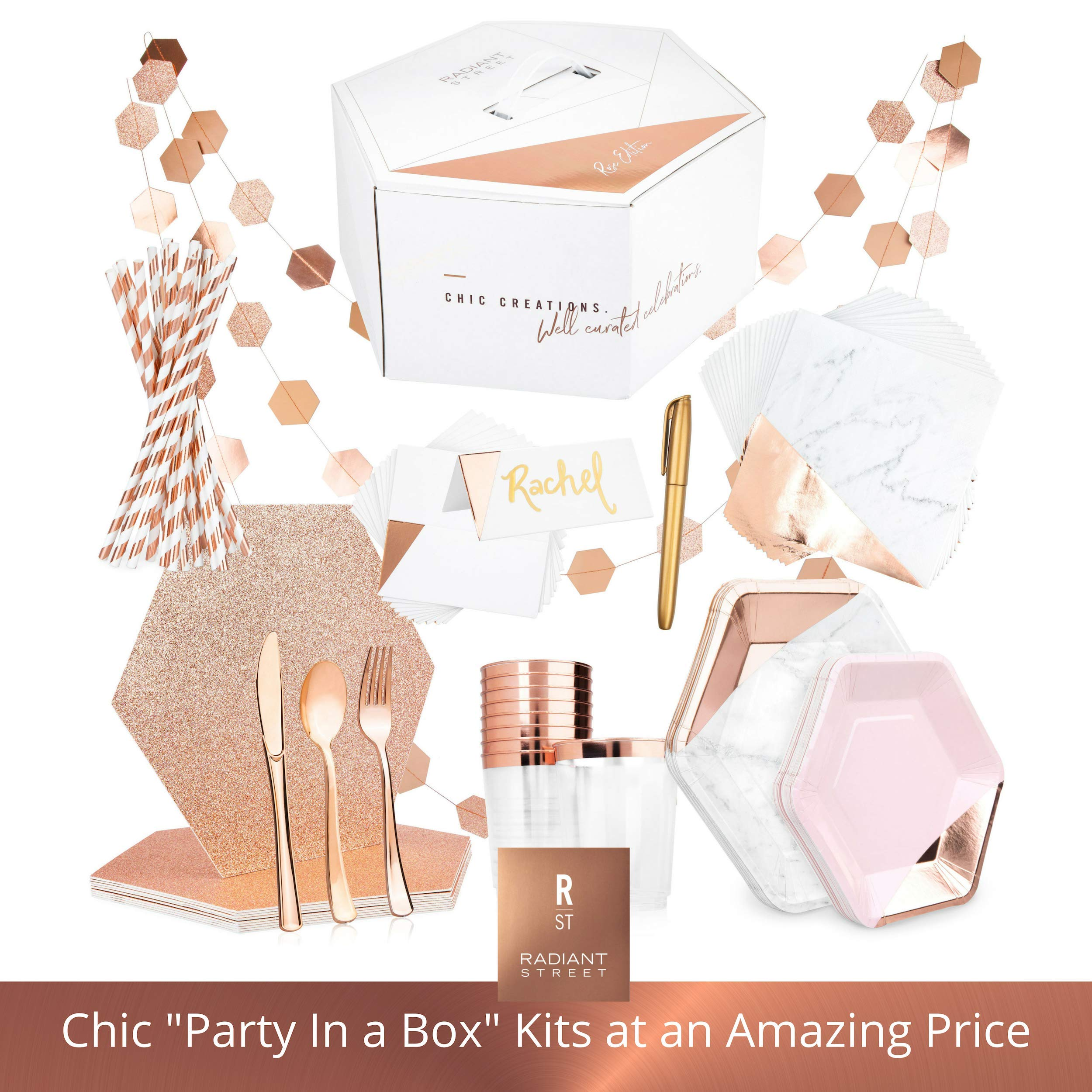Rose Gold Party Supplies - One of a Kind Party in a Box for 10 Guests - Chic 122 Piece Kit Includes Placemats, Paper Plates, Straws, Napkins, Plastic Cups, Silverware, Name Cards, Decorations & More