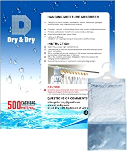 Dry & Dry 6 Pack [Net 9 Oz/Pack] Premium Hanging Moisture Absorber to Control Excess Moisture for Basements, Closets, Bathrooms, Laundry Rooms.