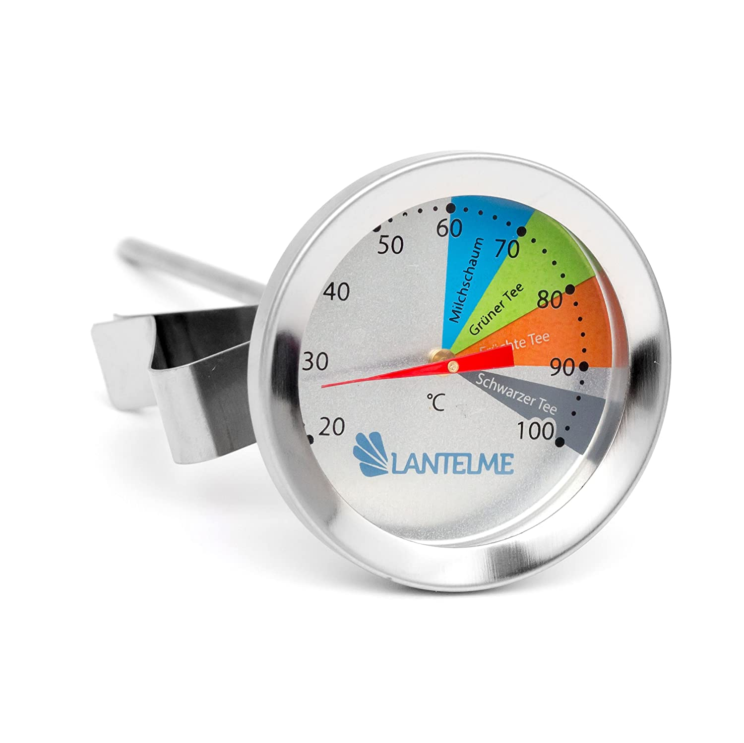 Lantelme 4975 Stainless Steel Tea thermometer for Cup or Pitcher Water Resistant and Dishwasher Safe