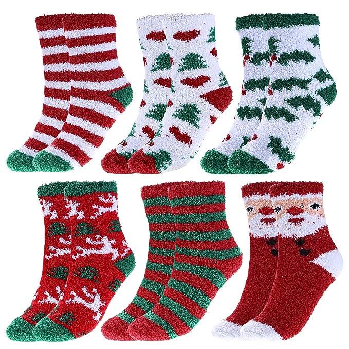 Christmas Fuzzy Socks.Ayliss Women Christmas Fuzzy Socks Winter Holiday Warm Socks Plush Slipper Socks 6 Pairs