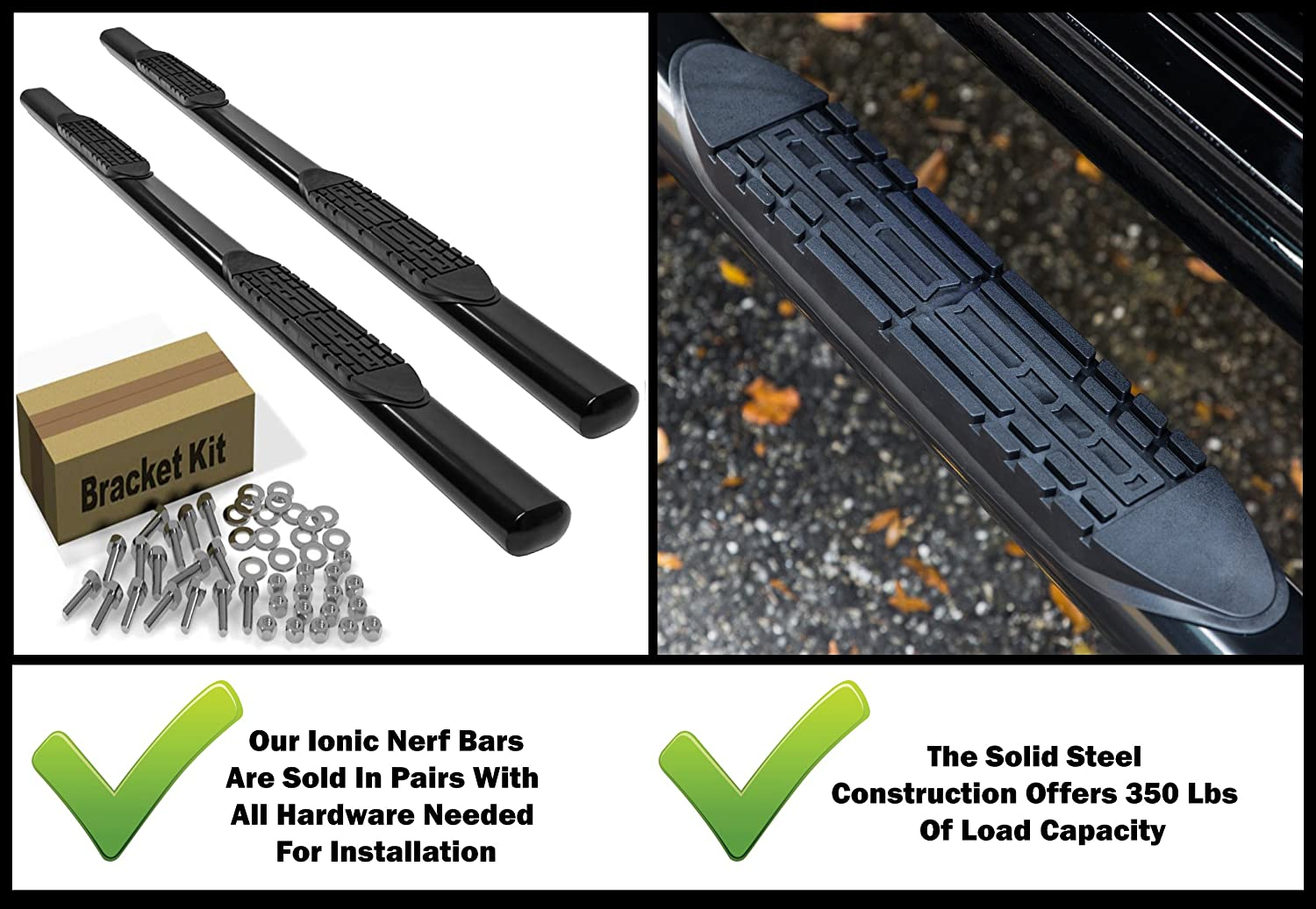 404509B fits 2015-2018 Chevy Colorado GMC Canyon Crew Cab Only Truck Side Steps Ionic 5 Black Steel Oval Nerf Bars