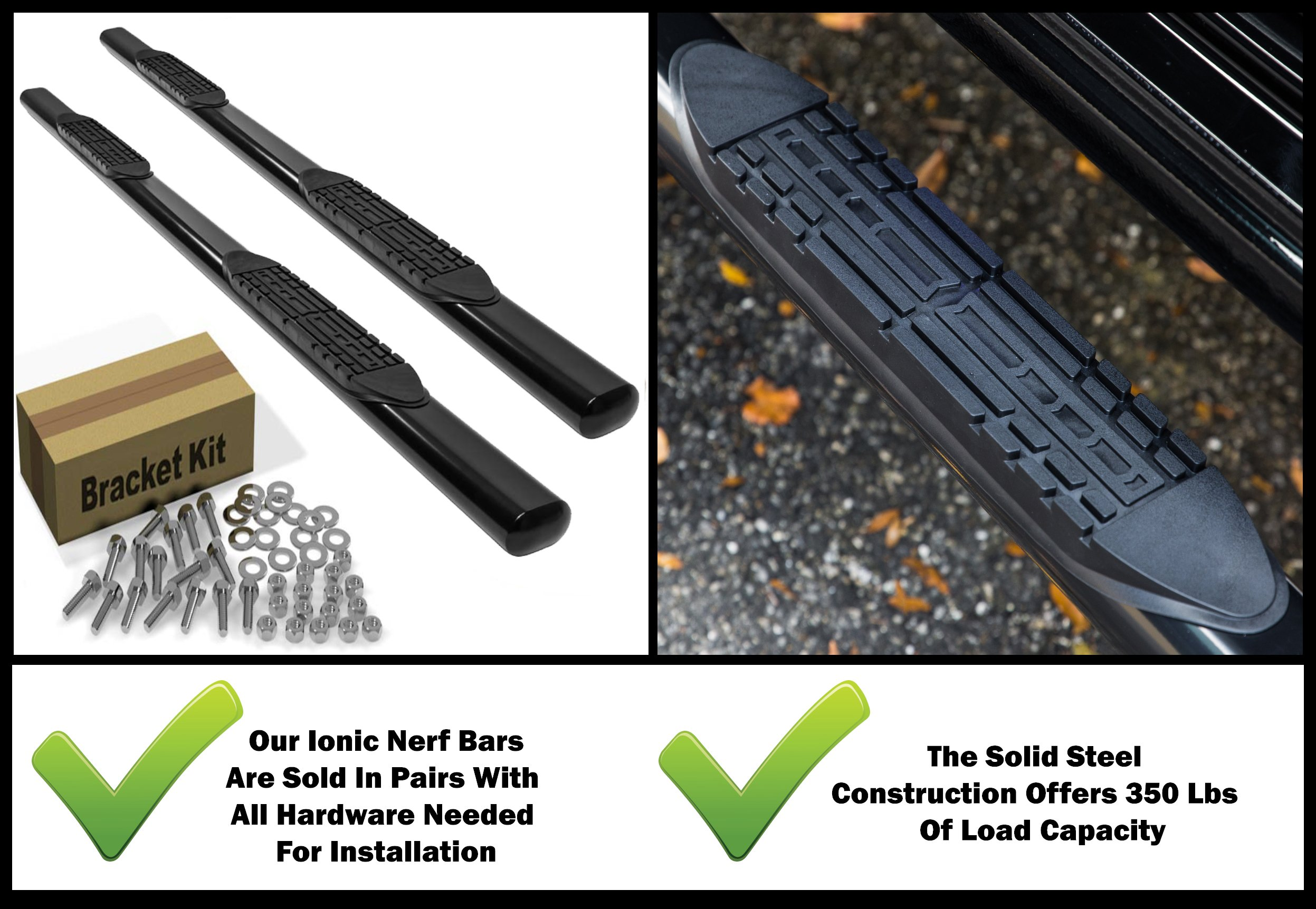 Ionic 5'' Black Steel Oval Nerf Bars (fits) 2007-2018 Chevy Silverado GMC Sierra Crew Cab Only Rocker Mount Truck Side Steps (402219B) by Ionic Automotive (Image #2)
