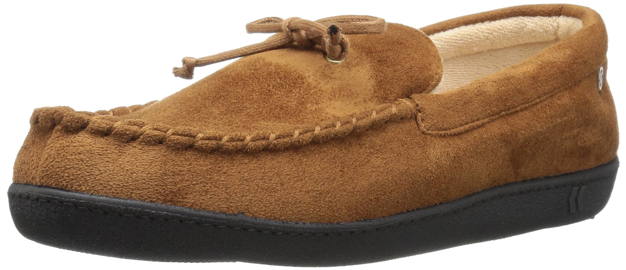 ISOTONER Men's Whipstitch Gel Infused Memory Foam Moccasin, Cognac, X-Large/11-12 M US by ISOTONER