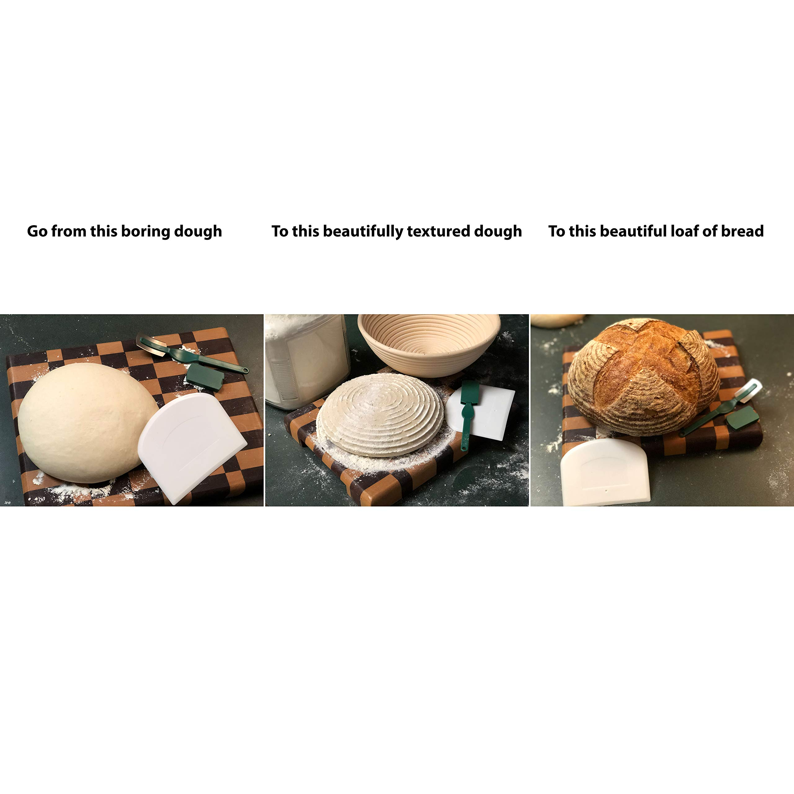 Make Beautiful Sourdough Bread with Baker's Reserve Ultimate Bread Baking Kit - Kit Includes Round 9 inch Banneton, Linen Liner, Dough Scraper and Dough Lame - Perfect for Making Rustic, Artisan Bread by Baker's Reserve (Image #3)