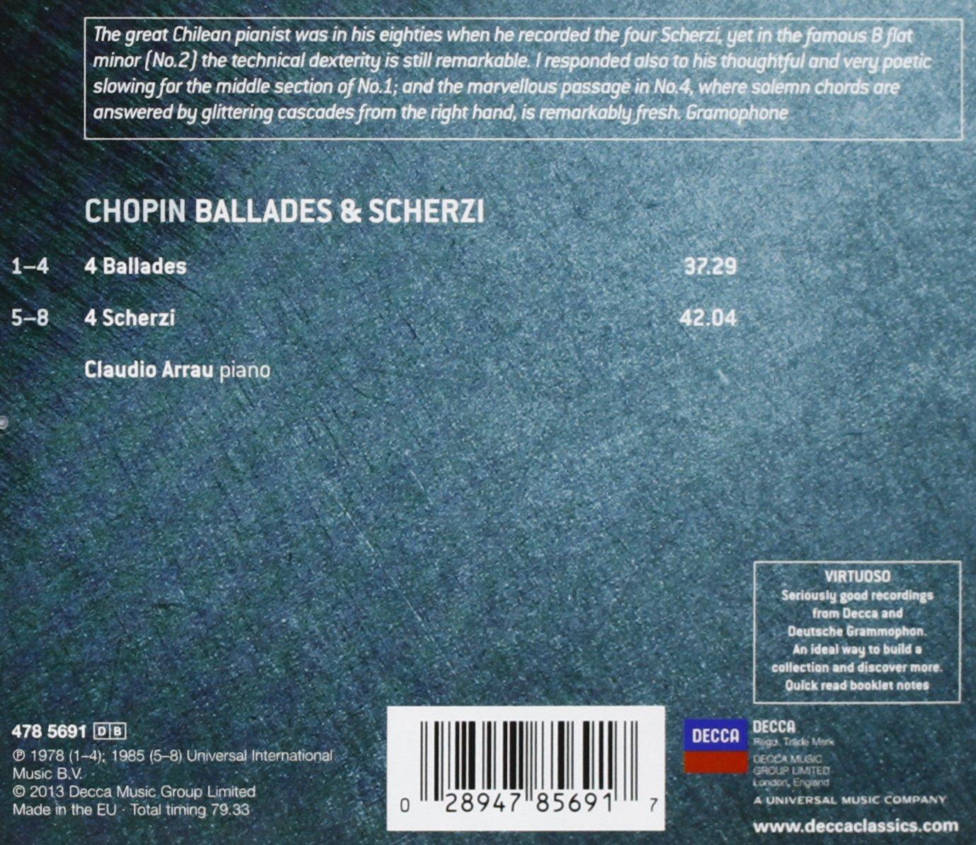 Claudio Arrau Frederic Chopin N A VIRTUOSO Chopin Ballades