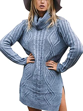 f18791e0c Missy Chilli Women s Turtle Neck Loose Cable Knit Sweater Dress ...