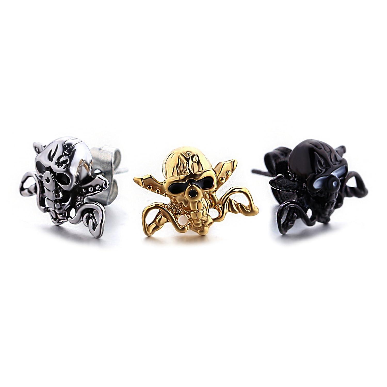 d986119604702 Amazon.com: Men Women Stainless Steel Skull Stud Earrings with Screw ...