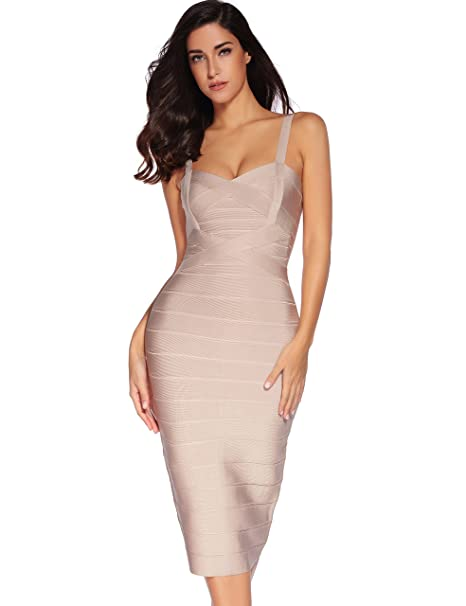4f875b519 Meilun Women s Celebrity Bandage Bodycon Dress Strap Party Pencil ...