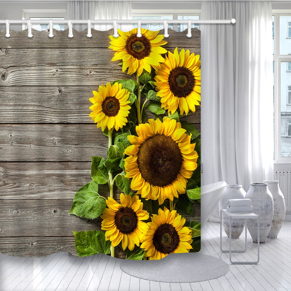 Sunflower Shower Curtain 3D Printing Spring Field Rustic Flowers On Country Wooden Board Mildew Resistant Fabric Bathroom Decorations Bath Curtains Hooks