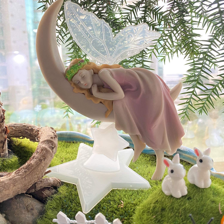 Moon Fairy Garden Fairies Figurines Outdoor Indoor Landscape Ornaments Gardening Decorations Statue Kit Set Kids Girls Toy Birthday Gifts 17pcs BangBangDa Miniature Fairy Garden Accessories