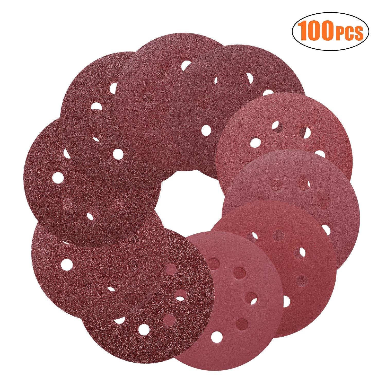 TACKLIFE Sanding Discs 5-Inch 8-Hole 100pcs Hook and Loop Sandpaper, 40/60/80/100/150/180/240/320/400/800 Grits Sandpaper for Random Orbit Sander - ASD1A
