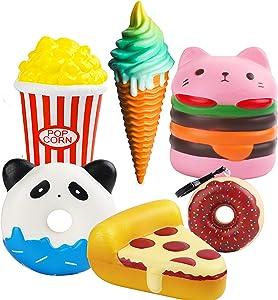 MALLMALL6 6Pcs Jumbo Food Novelty Squeeze Set- Hamburger Popcorn Pizza Ice Cream Donuts X2 Cream Scent Kawaii Soft Slow Rising Toys as Gift for Girls and Boys