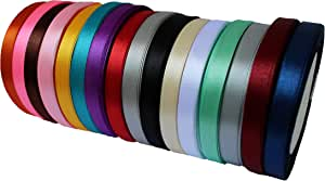 "JESEP 16 Rolls 400 Yards 3/8"" Double Face Solid Satin Fabric Ribbon Multi-Color Packing for Gift Package Wrapping Hair Bow Clips Accessories, Crafting, Sewing, Wedding, Decorator, etc (3/8"" 10MM)"