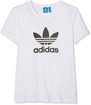 adidas Damen Trefoil T Shirt, White, 42: : Sport