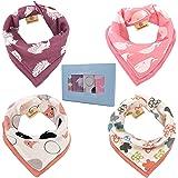 よだれかけ スタイ バンダナ型 エプロン ベビービブ 赤ちゃんスカーフ 柔らかい綿100% 出産祝い 新乳児 女の子 4枚セット