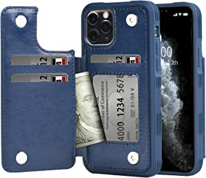Arae Case for iPhone 11 pro max PU Leather Wallet Case with Card Pockets Back Flip Cover for iPhone 11 pro max 2019 6.5 inch (Blue)