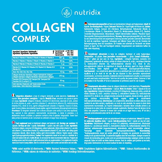 Colágeno + Ácido Hialurónico - Colágeno Hidrolizado para Piel, Pelo y Articulaciones - Vitamina C, A, D, B12, Coenzima Q10 y Zinc - 60 cápsulas ...