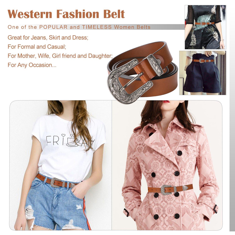 Ladies Western Leather Belts Cowhide Leather Jeans Belt Vintage Dresses Skinny Belt Adjustable Metal Buckle 28''-34'' Gift Box Brown by XZQTIVE (Image #5)