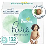 Diapers Size 5, 132 Count - Pampers Pure Protection Disposable Baby Diapers, Hypoallergenic and Unscented Protection, ONE MON