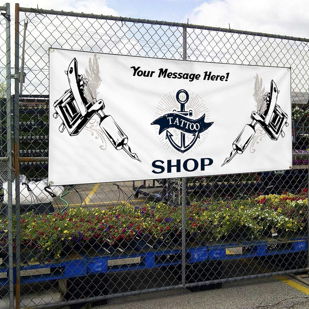 Custom Industrial Vinyl Banner Multiple Sizes Tattoo Shop Personalized Text Funny and Novelty Outdoor Weatherproof Yard Signs Grey 10 Grommets 56x140Inches